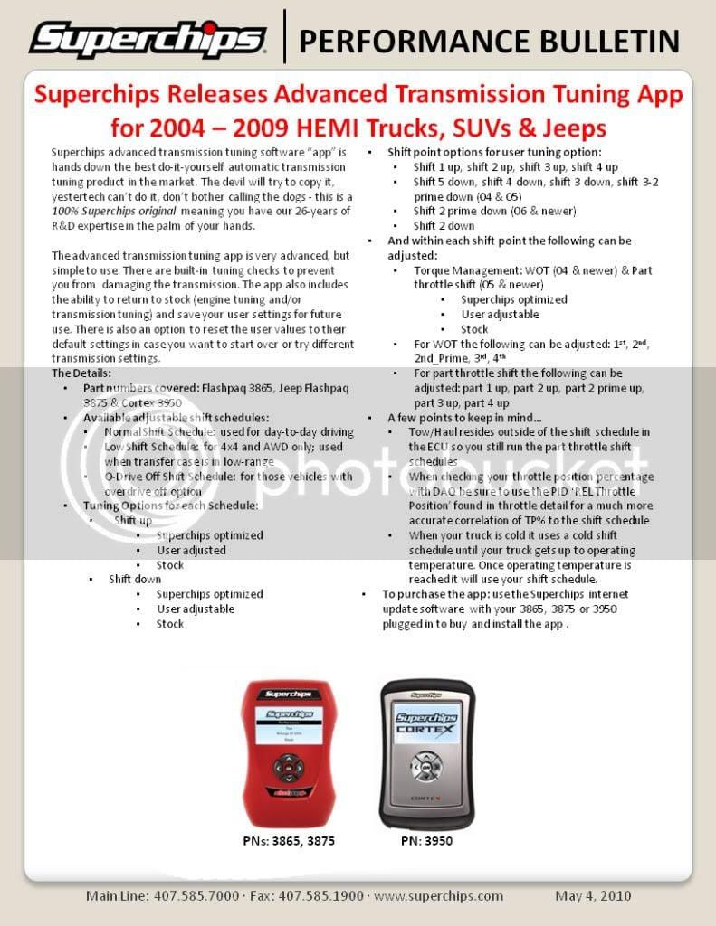 Superchips releases Advanced Trans options for 06-08 HEMI